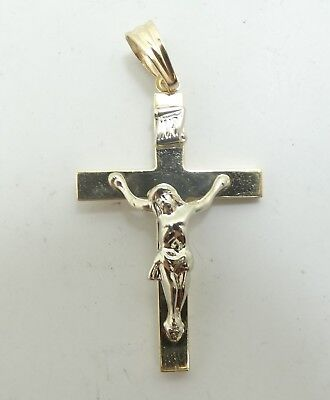 "Very Nice 14K Y & White Gold Religious Jesus Crucifix Cross Pendant 1.5"" D6198"