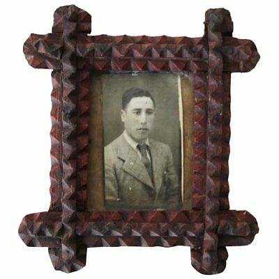 Early 20th Century Antique, American Tramp Art, Small Wooden Picture Frame
