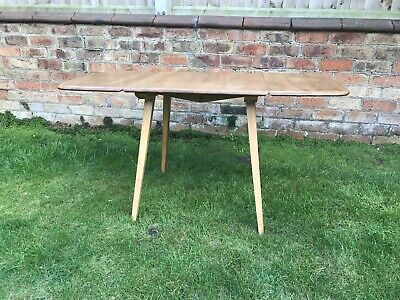 vintage Ercol drop leaf table 63cm -135cm 75cm wide tapered legs elm and beech