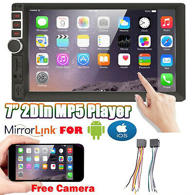 7 Inch Double Din Car Stereo With Backup Camera Audio MP5 Mirror For IOS Andriod