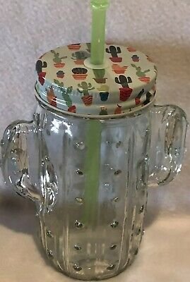 Cactus Glass With Straw And Metal Lid 16 Oz Summer
