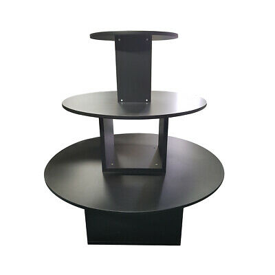 Black Shop Display Stand Round Merchandise 3 Tier Sale Presentation Table Large