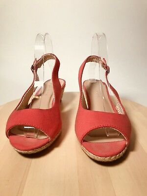 "Peep Toe 2"" Natural Tan Wedge Sling Back Sandal Salmon Orange Womans Sz 9"