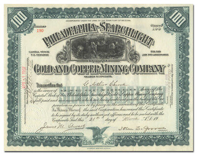 Philadelphia-Searchlight Gold and Copper Mining Company Stock Certificate