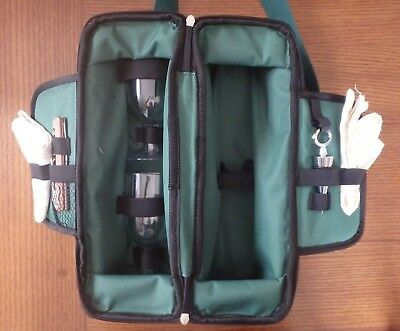 Picnic Time Insulated Green Wine Bottle Travel Tote Case Wine Service For Two