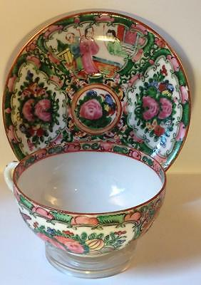 Famillia Rose hand painted Cup and saucer . Antique Asian ceramic