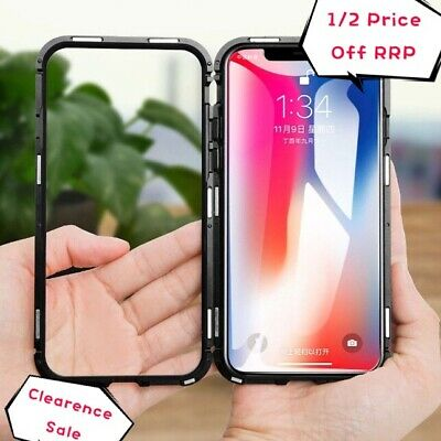 For Apple iPhone 6 7 8 Plus X XR MAX Magnetic Metal Tempered Glass Case Cover