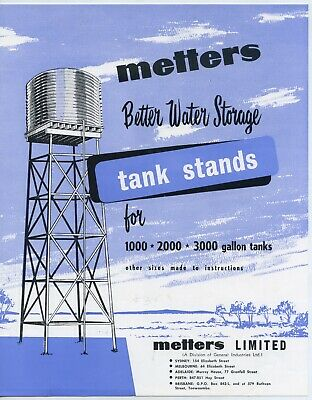 1958 Pamphlet Metters Better Storage Tank Stands All Capital Cities Aust. Z24