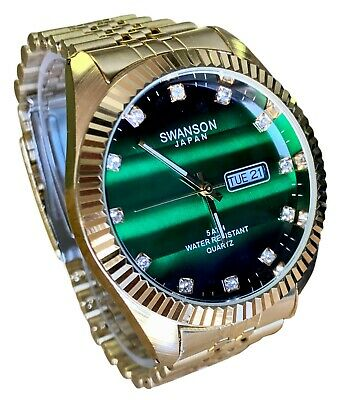 Swanson Men's Gold Day-Date Watch Stone Green Dial New 50 Meters