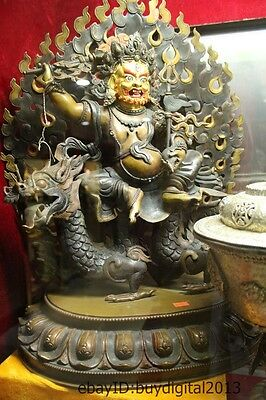 "22""Tibet Buddhism Temple Pure Bronze Gilt Sit Dragon White Jambhala Buddha"