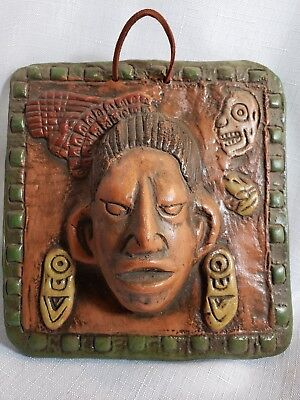 Pre Colombian mask plaque reproduction Mayan Aztec multi color clay 3D mask