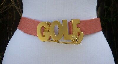 Vtg. Dotty Smith Matte Gold Tone Double Golf Buckle w/Pink faux. Leather Belt