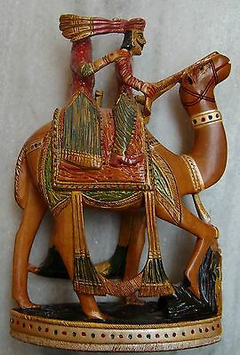 Kadam wood couple statue on camel hand carved painted wooden figurine home decor