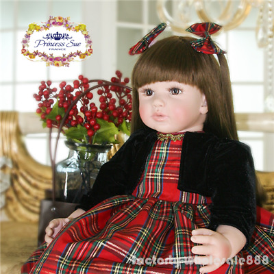 "22"" Lifelike toddler Reborn Girl Dolls Vinyl Handmade Princess Baby kids gift"