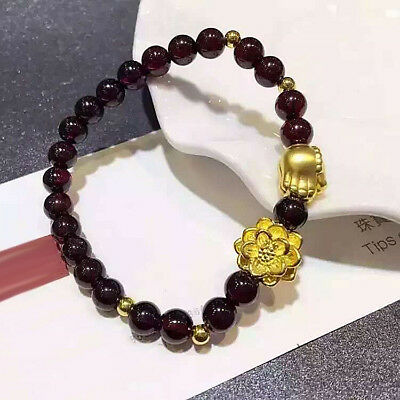 Pure 24K Yellow Gold 3D Lotus Flower with Buddhist Hand Red Beads Bracelet 16cm