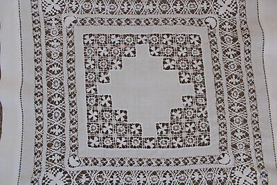 Vintage small square white linen cloth with crocheted insert.