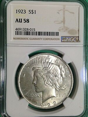 1923-P Peace Silver Dollar NGC Au58 About Uncirculated