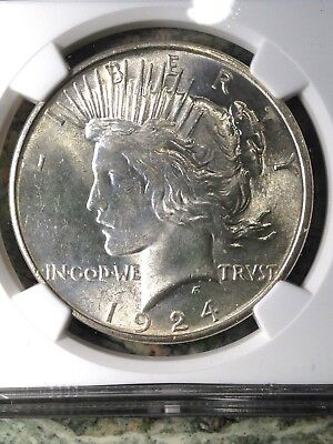 1924-P Peace Silver Dollar NGC MS 62 UNC BU Brilliant Uncirculated Super Coin