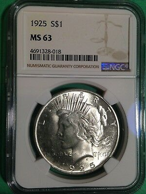 1925-P Peace Silver Dollar NGC MS63 BU Super Luster PQ Brilliant Uncirculated