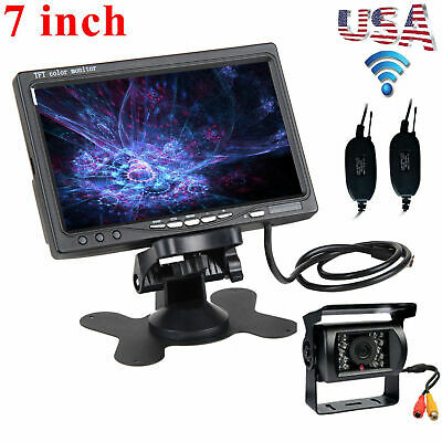 "Wireless IR Rear View Backup Camera Night Vision Kit+7"" Monitor For RV Truck Bus"