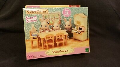 Calico Critters Dining Room Set Kitchen Cabinet Table Baby Chair Furniture 1809