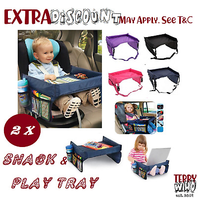 2x Baby Car Seat Lap Tray Snack N Play Portable Table Kid Travel Pushchair