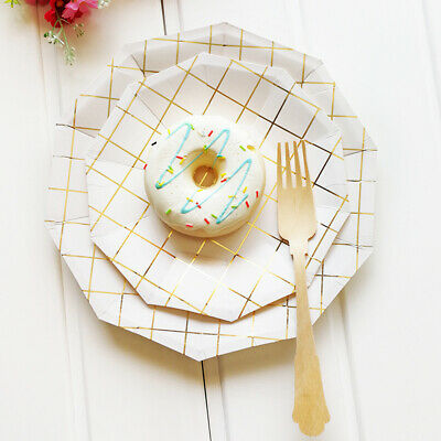 Party Tableware Disposable Birthday Supplies wedding Paper Plate cup square gold