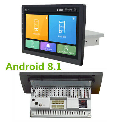 "9"" Android 8.1 1Din Car Stereo Radio GPS Wifi Quad-core DVR OBD Adjustable Back"