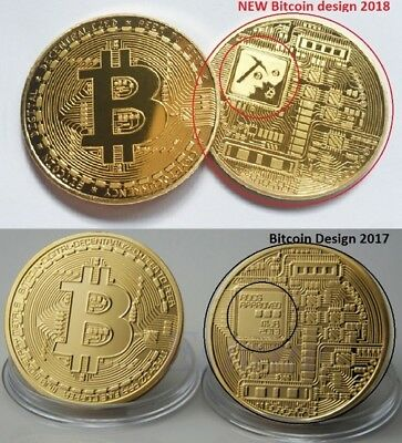 3 PCS X NEW Bitcoin Design 2018 Gold Plated Physical Coin Collectible Gift BTC