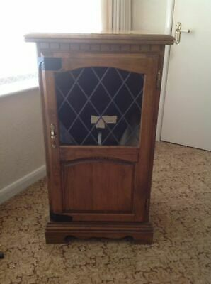 Solid Oak Style Hi Fi Cabinet Gl Leaded Door Free To Good Home