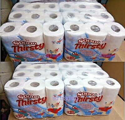 48 x Thick White 3 Ply Kitchen Rolls Halloween Design Cleaning Wipe Tissue Paper