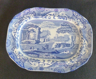Spode China Italian 12.5 Inch Meat Plate / Platter Blue & White China C.1816