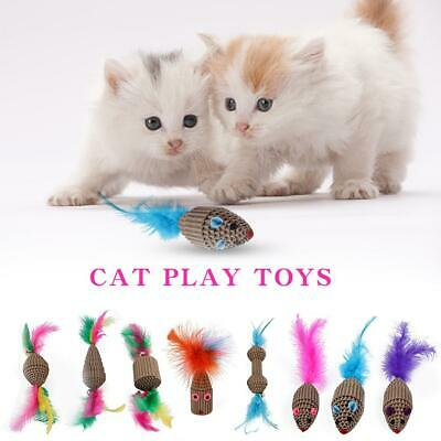 Pet Cat Teaser Toy Feather Corrugated Paper Mouse Kitten Play Scratch Toys Gift