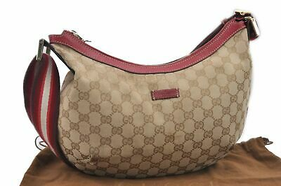 4398692e967 Authentic GUCCI Sherry Line Shoulder Bag GG Canvas Leather Beige Red 74073