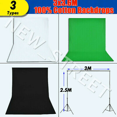 🔥 3x3.6m Photography Backdrop Black White Green Background Screen Support Stand