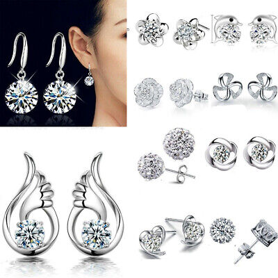 Women`s Luxury Elegant 925 Sterling Silver Crystal Ear Stud Earrings Jewellery