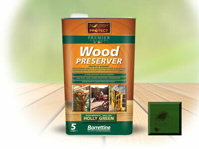 5L Barrettine Holly Green PREMIER Wood Preserver stain paint decking shed fence