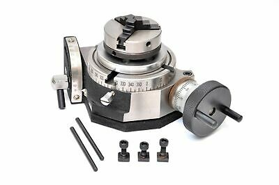 """Rotary Table 4"""" /100mm Tilting with 65mm Lathe Chuck for Milling"""