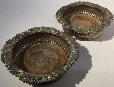 PAIR ANTIQUE GEORGIAN OLD SHEFFIELD PLATE WINE COASTERS - Silver Plate On Copper