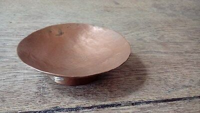 Arts And Crafts Hammered Copper Circular Trinket / Pin Dish With Circular Base
