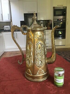Large antique 19th century Middle Eastern Brass & Copper Dallah Coffee Pot
