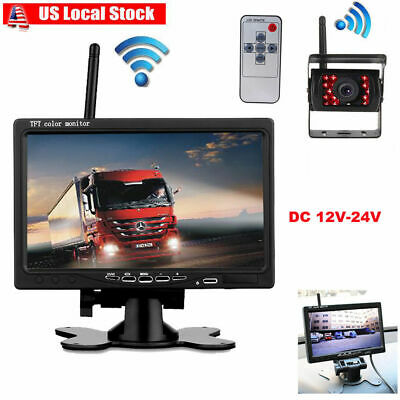 "Wireless IR Night Vision Backup Rear View Camera +7""LCD Monitor for RV Bus Truck"