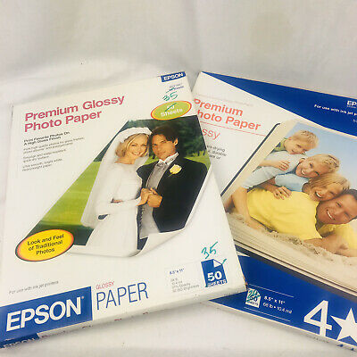 Epson Premium Photo Quality Glossy Ink Jet 8.5 X 11  68 lb 70 Sheets S041467