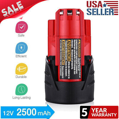 For Milwaukee 48-11-2401 M12 12V LITHIUM Compact Battery 2.5Ah Power Tools