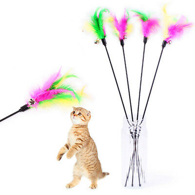 5 Pcs Cat Toys Teaser Interactive Soft Colorful Feather Bell Wand Kitten Playing