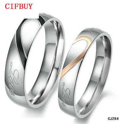 1Pc JEWELRY 316L Stainless Steel Silver HalfHeart Couple Ring Wedding Engagement