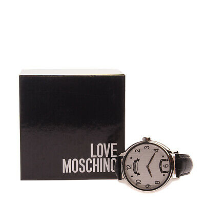 RRP €110 MOSCHINO CHEAP AND CHIC Quartz Black Dial Watch Leather Strap MW0237