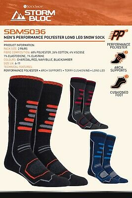 Storm Bloc - 2 Pack Mens Extra Long Knee High Warm Padded Technical Ski Socks
