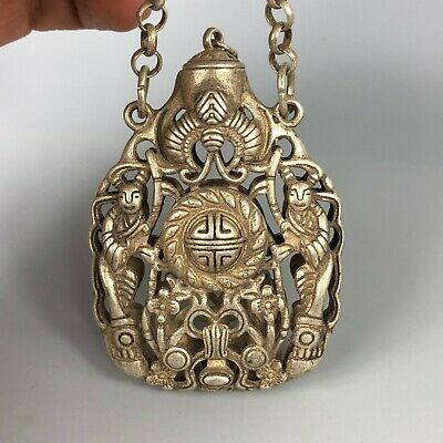 Chinese Collectible Old Tibet Silver Copper Handwork Flowers Spice Box