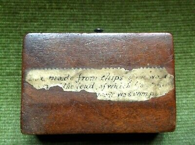 Rare  Antique 19C Treen Box Made Of Wood & Lead From Napoleon Bonaparte's Coffin